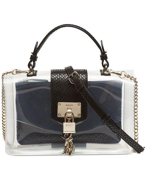 DKNY Elissa Clear Leather Top-Handle Flap Shoulder Bag .