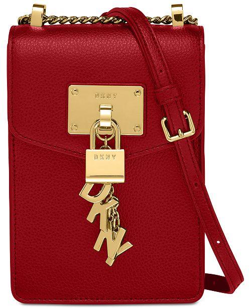 DKNY Elissa Pebble Leather Charm Chain Strap Crossbody, Created .