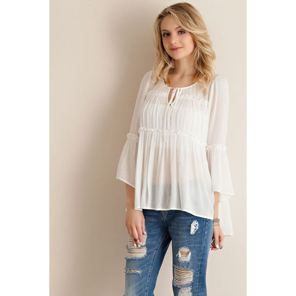 Entro Tiered Baby Doll Blouse ($33) ❤ liked on Polyvore featuring .
