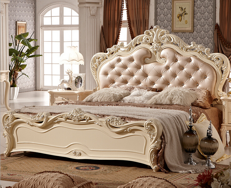 Double bed design luxury home used king size soft bed 0409 A816 .