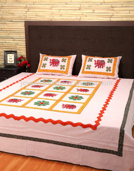 Designer Elephant Patch Work Double Bed Maroon Bed Sheet - Buy .