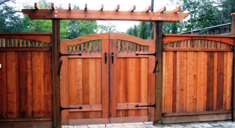 best redwood double gate fence designs - Google Search | Fence .