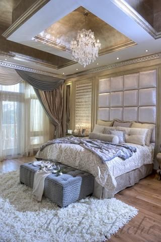 opulent classical/ modern bedroom. Chandelier. Interior design .
