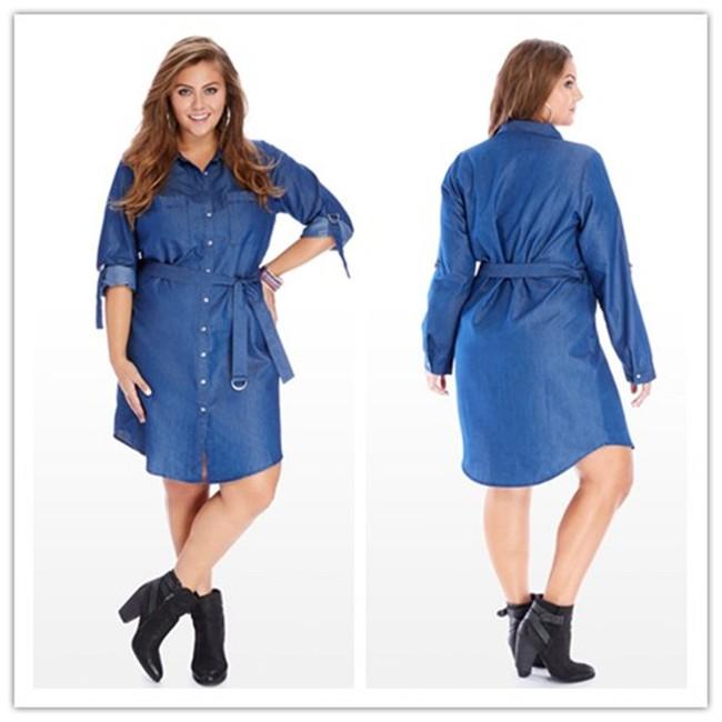 Plus Size Denim Shirt Dresses for Wom