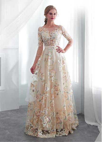 Lace Bateau 3/4 Sleeves Color Floral A-line Wedding Dress With Be