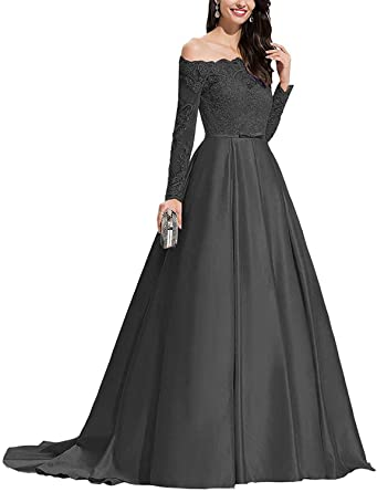 LINDO NOIVA Women's Off Shoulder Long Prom Dresses with Sleeves A .