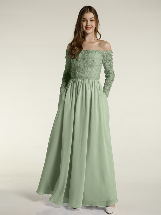 Dusty Sage Long Sleeve Bridesmaid Dresses & Bridesmaid Gowns .