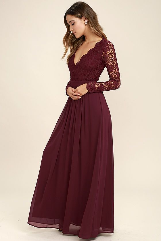 Awaken My Love Burgundy Long Sleeve Lace Maxi Dress (With images .