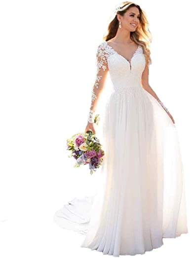 DUMOO Women's Beach Wedding Dresses with Long Sleeves Boho Chiffon .