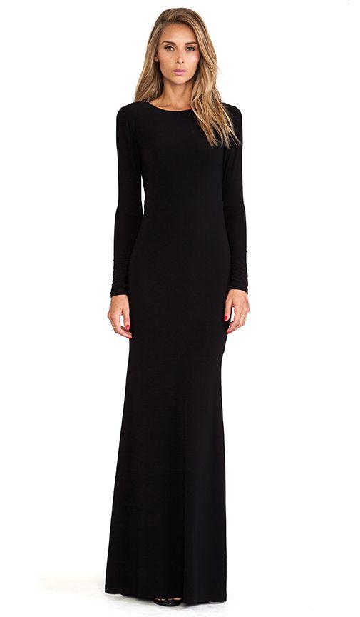 Alice + Olivia Long Sleeve Maxi Dress in Black | REVOLVE | Long .