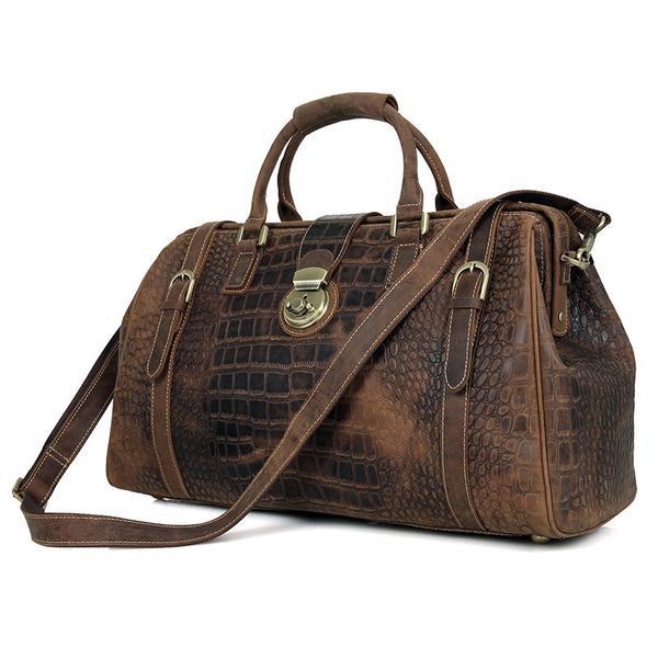 Designer Crazy Horse Handbags Mens Vintage Leather Duffle Bag .