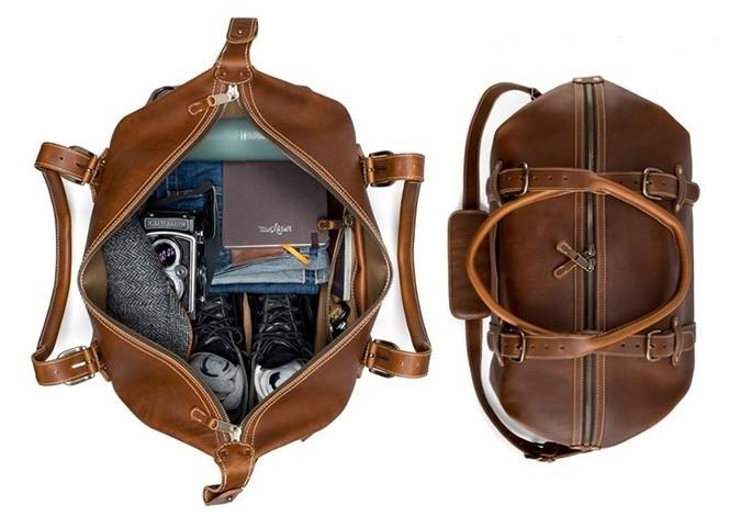 Men's Leather Duffle Bag | Men's Weekend Bag | Pad & Qui