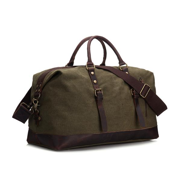 RockCow Canvas with Leather Duffle Bag, Travel Bags for Men .