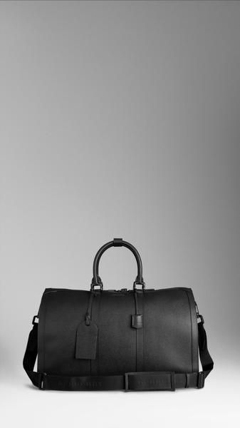 Burberry Large Leather Duffle Bag in Black for Men (With images .