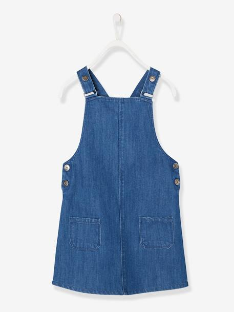 Denim Dungaree Pinafore Dress, for Girls - blue dark solid, Gir
