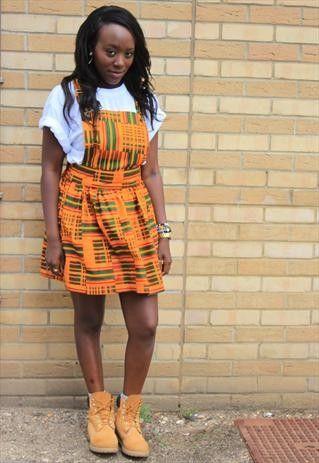 Kente Dungaree Dress (pinafore).......beautiful ! | Dungaree dress .