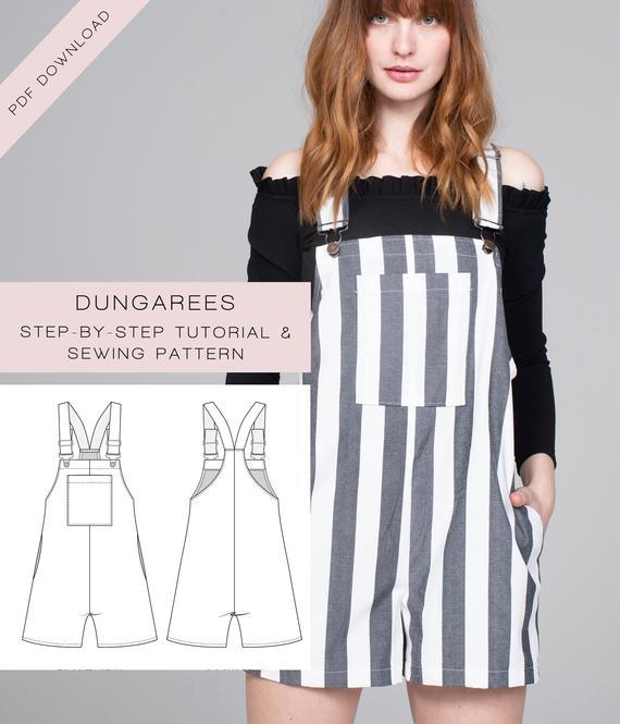 Sewing Pattern PDF Dungarees / Pinafore Dress / Bib Skirt / | Et