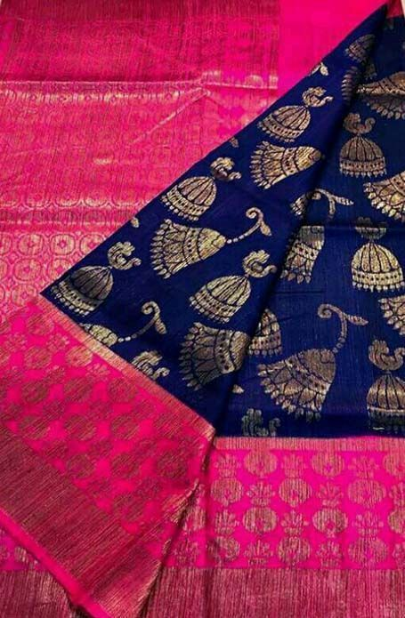 Shop online for Blue Handloom Banarasi Dupion Silk Saree .