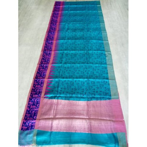 Handloom Pure Dupion Silk Saree, Machine Made, 6.3 M (with Blouse .