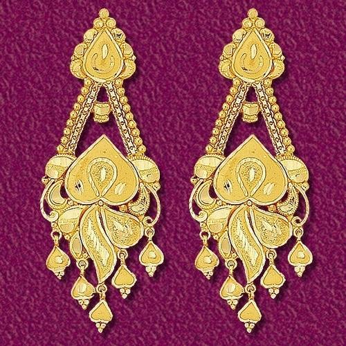 Golden Jewellery - Designer Golden Earring Wholesaler from Luckn