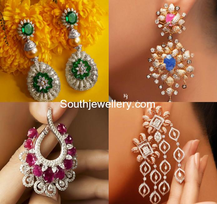 Designer Diamond Earrings - Indian Jewellery Desig
