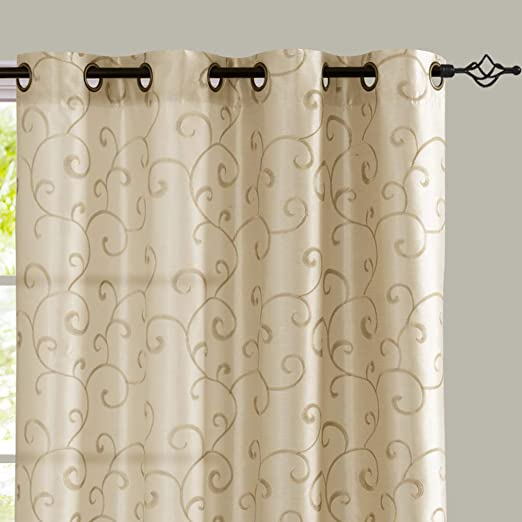 Amazon.com: jinchan Curtains Ivory 95 inches Living Room Drapes .