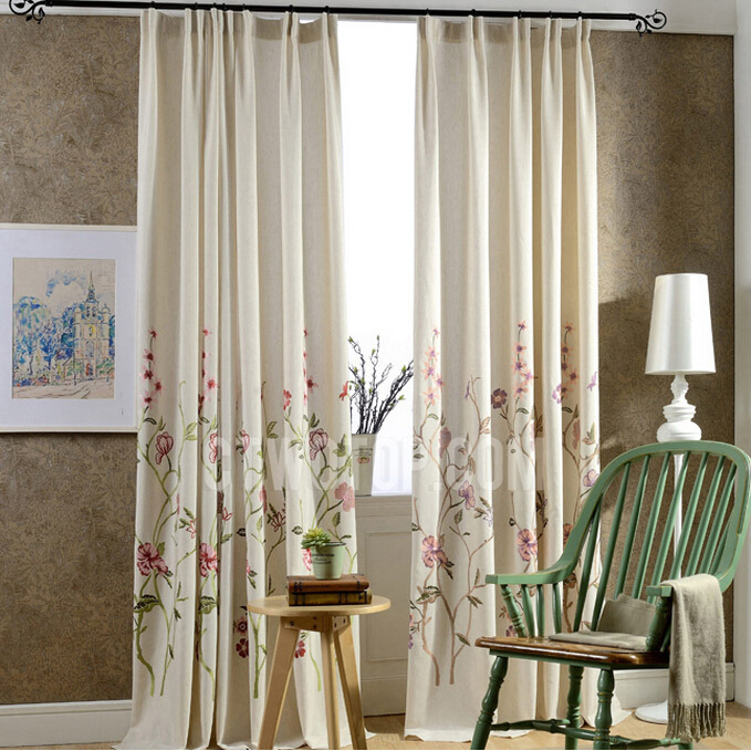 Natural Linen/Cotton Embroidered Pattern Beige Country Floral Curtai
