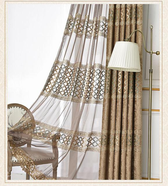 European high-quality Blackout embroidered curtains for Living .