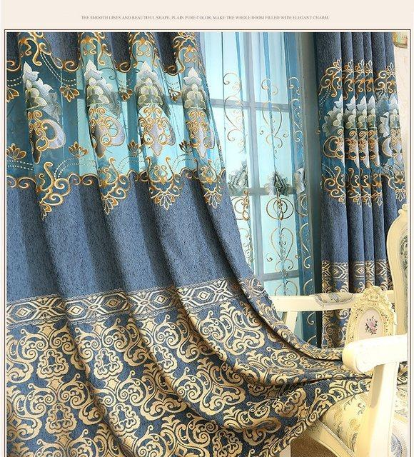 New Chenille blue European Embroidered Curtains – Blue Sky 20