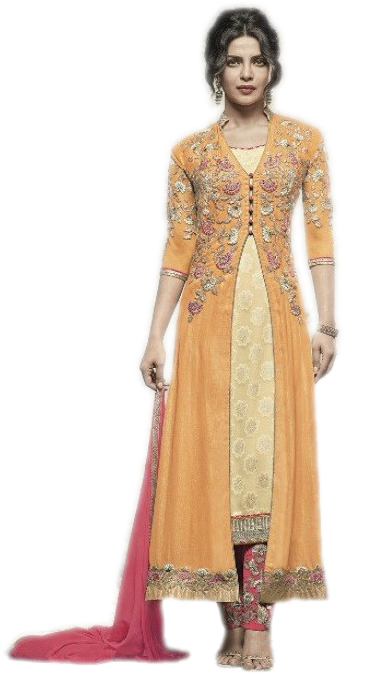 Buy Priyanka Chopra Designer Embroidered Salwar Suit - Yellow with .