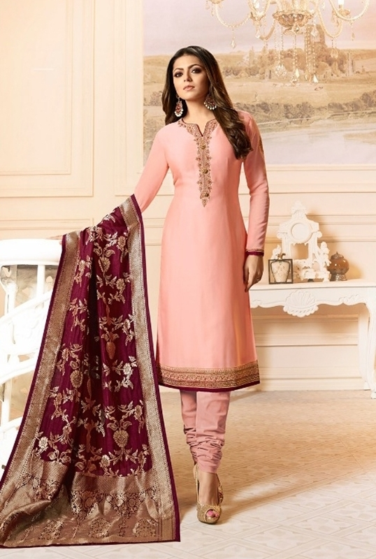 We Make Shopping Easy Designer Peach Satin Georgette Embroidered .