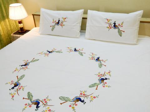 Fabby Peacock Embroider Double Bedshe