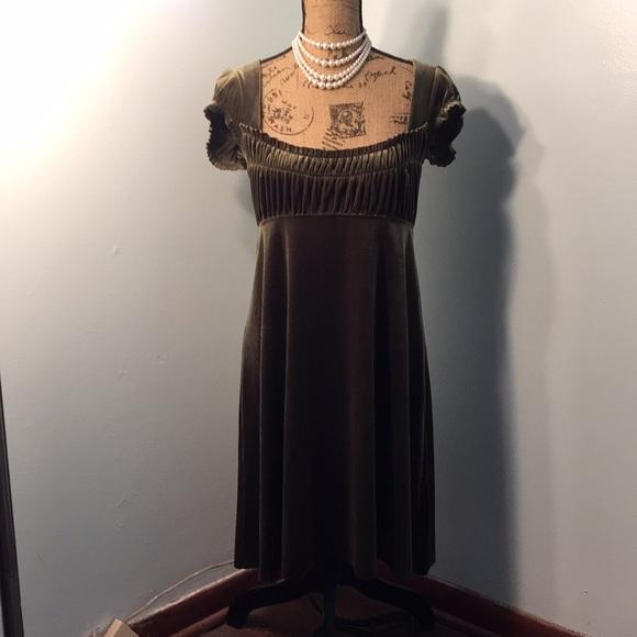Free People Dresses | Velvet Green Moss Empire Waist Dress | Poshma