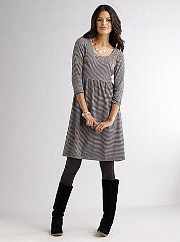 work clothes: gray empire waist dress, black leggings, boots .