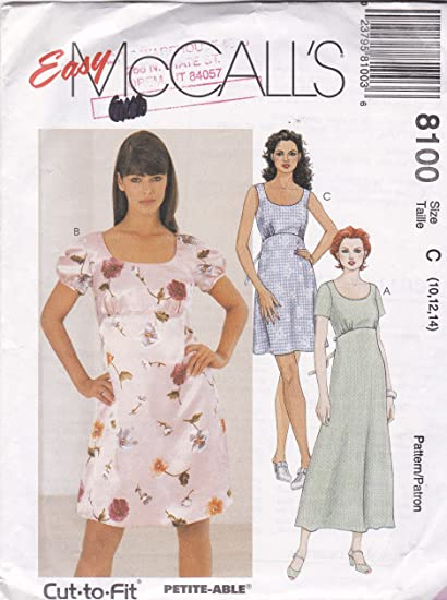 Amazon.com: Misses' Empire Waist Dress Easy McCall's Sewing .
