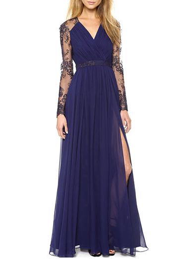 Empire Waist Dress - Navy Blue Evening Dress / Lace Long Sleev