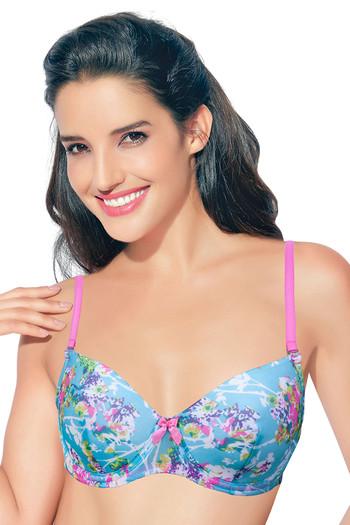 Buy Enamor Floral Padded Wired Bra-Blue at Rs.749 online | Bras onli