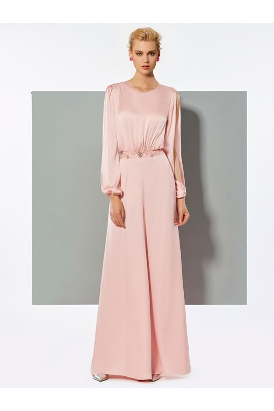 A Line Long Sleeve Beaded Long Hot Evening Jumpsuits (With images .