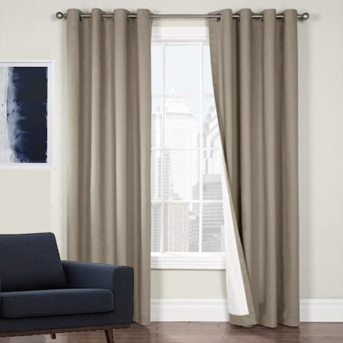 Arizona 100% Blockout Curtain Panel Latte Quickf