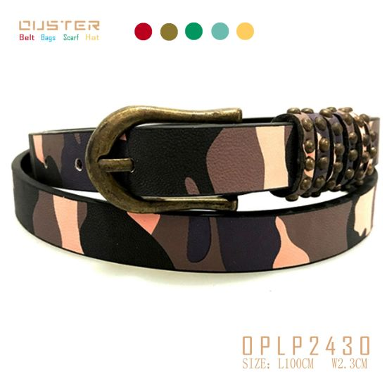 China Vantage Look Fancy Camouflage Belts PU Quality Lady Belt .
