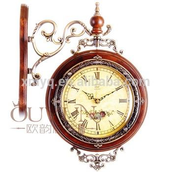 European Design Fancy Decorative Wooden Clock Hanging Double Side .