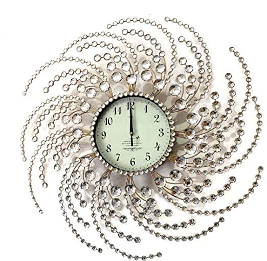 Amazon.com: Wall Clock Large Metal Crystal Decorative Circle Fancy .