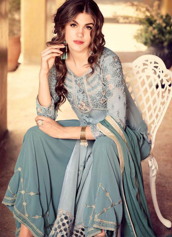 Designer Lavender Georegette Fancy Salwar Kame