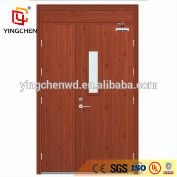 Main Door Design Unequal Double Wooden Exit Fire Door With Window .