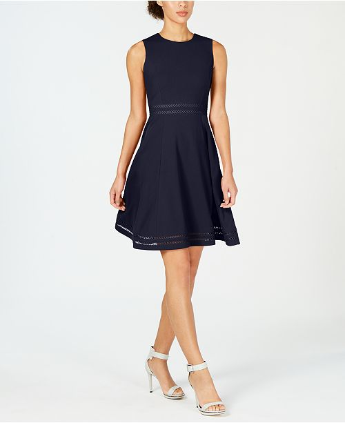 Calvin Klein Illusion-Trim Fit & Flare Dress & Reviews - Dresses .