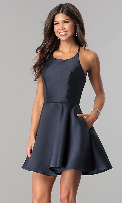 Open-Back Fit-and-Flare Party Dress by Alyce -PromGi