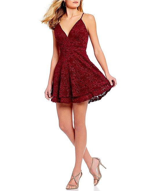 Honey and Rosie V-Neck Lace Bra Back Fit-And-Flare Dress | Dillard