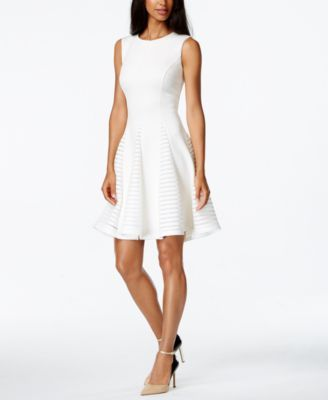 Calvin Klein Perforated Fit & Flare Sleeveless Dress (With images .