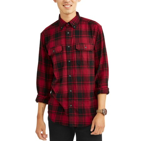 George - George Men's and Big & Tall Long Sleeve Flannel Shirt, up .