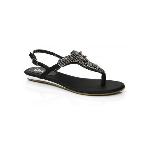 Black Sandals: Black Flat Sandals Ladi